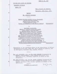 An extract from the court case involving the Margam Estate and the Kenfig Corporation, 1971.