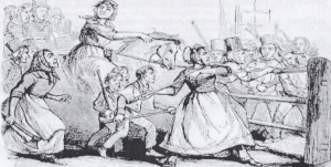 The Rebecca Riots of 1843 as depicted in the London Illustrated News.